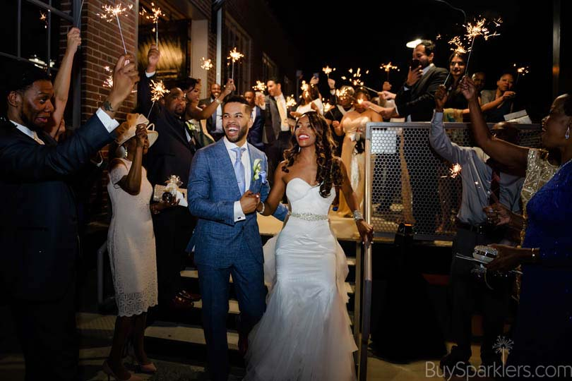 raleigh wedding with sparkler exit