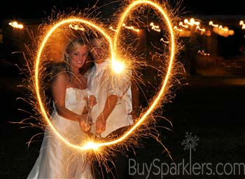 Sparkler heart made by wedding couple
