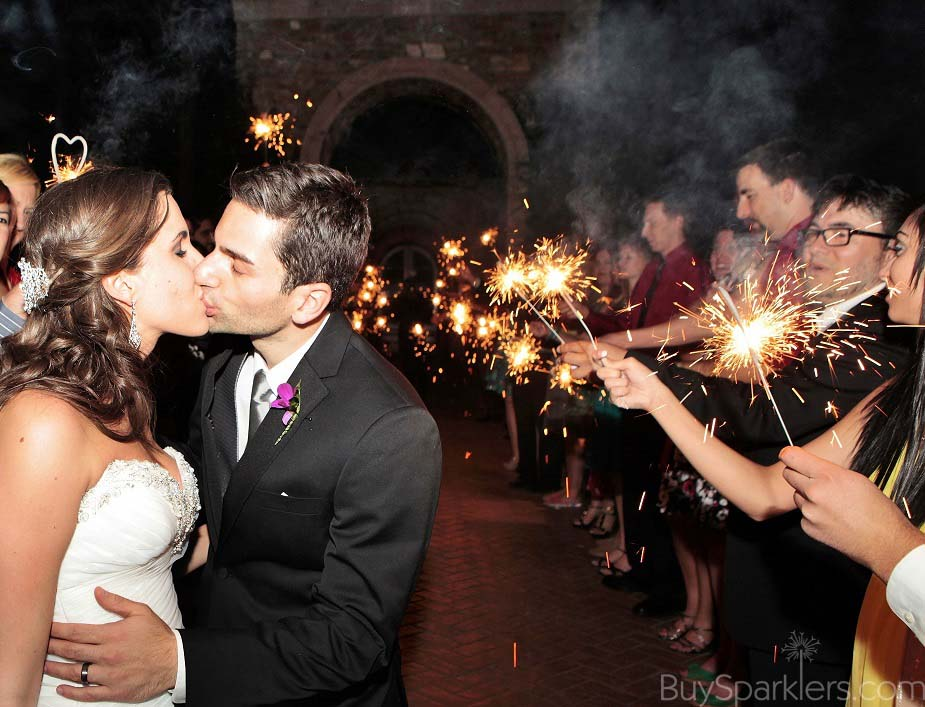 Wedding Kiss with Sparklers