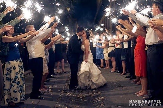 Newly wedding kissing sparkler wedding exit