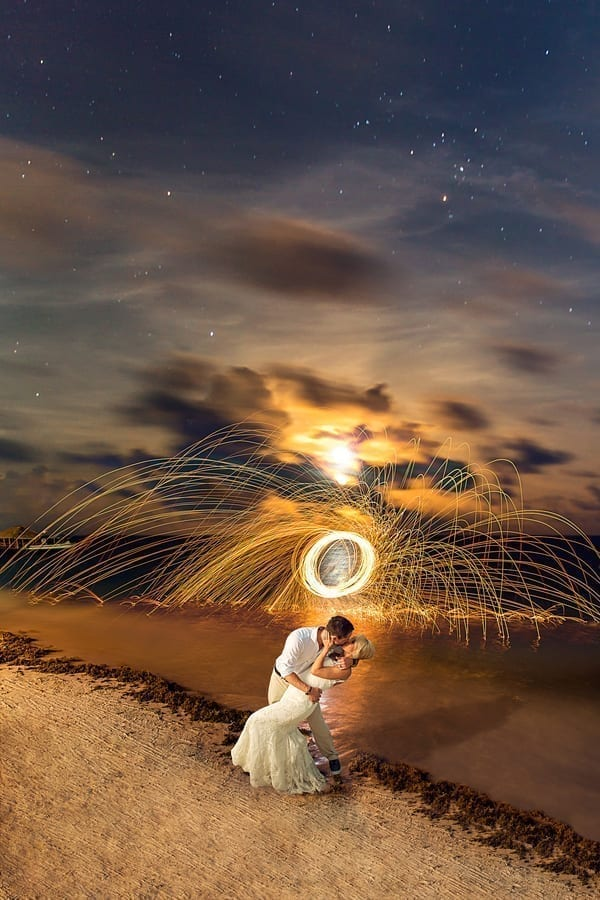Bride and Groom Long Exposure Sparklers Destination Beach Wedding Aldabella Photography