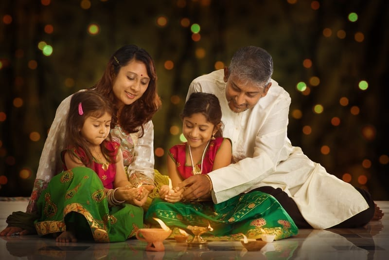 A family celebrating diwali