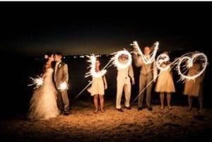 Love spelt out with sparklers